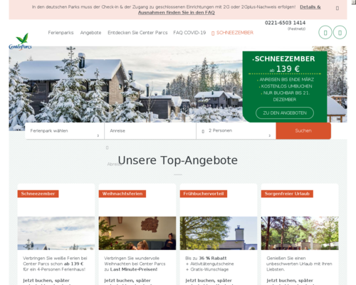 Online-Shop vonCenter Parcs